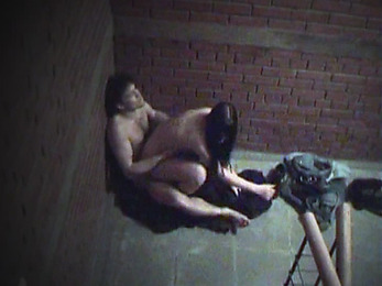 Steamy fuck action at the stairs!