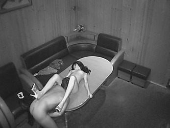 Horny ride session on the table watched by security cam!
