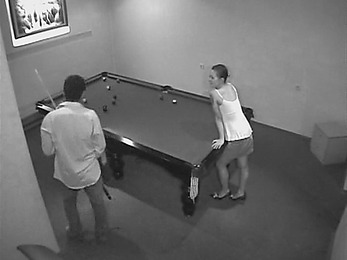 Insatiable guy pounding doll's pussy on the billiard table!
