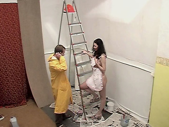 Crazy housewife diddled by foreman!