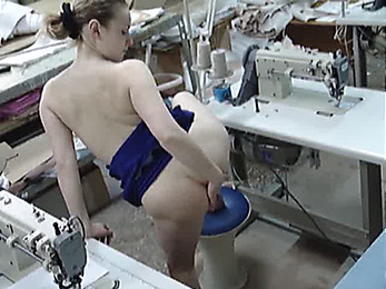 Crazy seamstress masturbating on-the-spot!