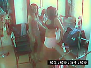 Hot models petting each other flicked by security cam!
