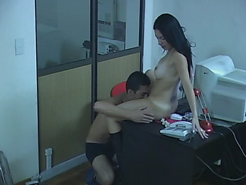 Bestial brunette manager playing with the student!