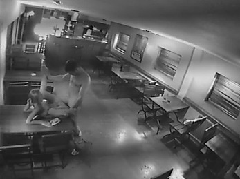 Big closed bar is a fuck platform watched by security cam!